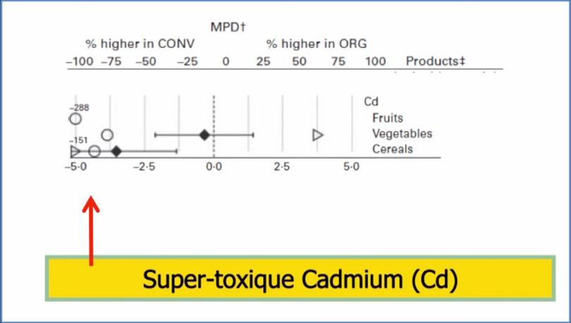 Présence de Cadmium dans les aliments conventionnels versus biologiques