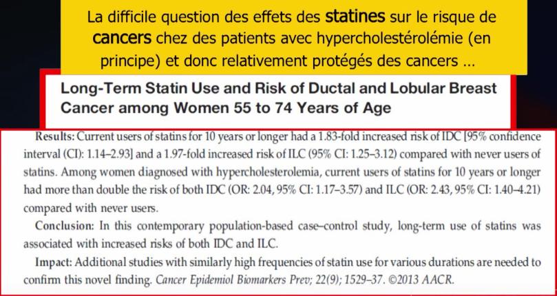 Étude - Effets de l'utillisation de statines et le risque de cancer